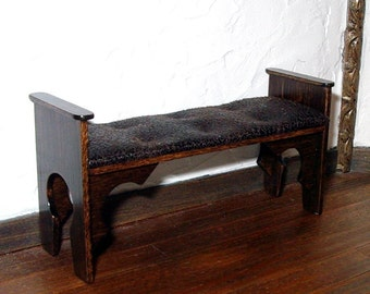Cushioned Bench, Medieval Dollhouse Miniature 1/12 Scale, Handmade