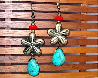 Brass Flower & Turquoise Earrings, Hand Made