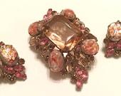 Vintage Pink Juliana Easter Egg Brooch And Earrings As-Is