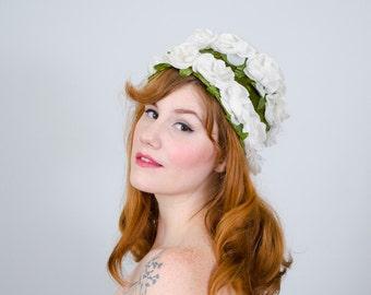 50% OFF SALE / 1960s vintage hat / flower hat / Gardenia