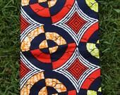 "On Target: Red, Blue, Orange BATIK Ankara, African Dutch Wax Print Fabric, 1 yard x 46"", Tribal African Fashion, Sewing, Boho Chic Decor"