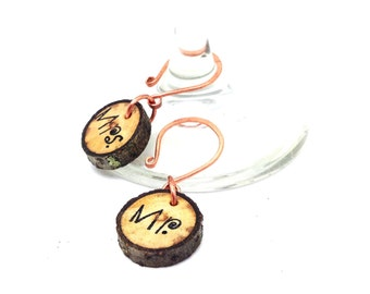 Mr. & Mrs. Wine Charm Wedding Keepsakes ||  Wine Glass Art || Natural Branch Beauty || Toasting Stemware Charms || Made in the USA