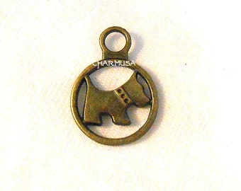 10 Pieces Dog Charm Coin Open Loop Charm Antiqued Bronze Pendants Same Design Both Sides SALE USA