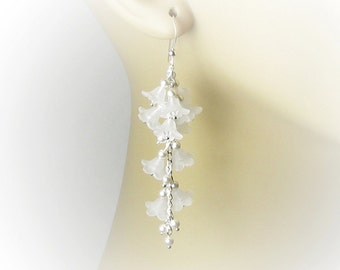 BABY'S BREATH Cascading White Flower Cluster Swarovski Pearl Sterling Silver Earrings, White Floral, Clear Crystals, Bridal, Wedding Jewelry
