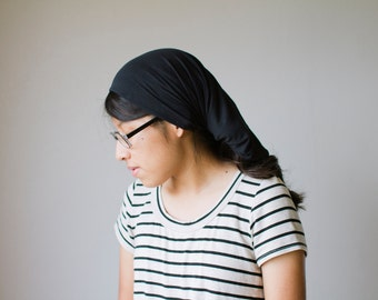Black Headcovering in Knit Fabric | Christian Women's Headcovering Veil