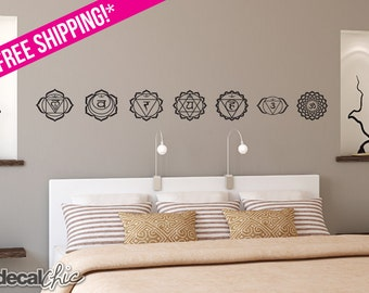 The Seven Chakras ~ Wall Decal ~ Car Decal ~ Vinyl Sticker ~ Custom Size ~ Custom Color ~ Free Shipping USA