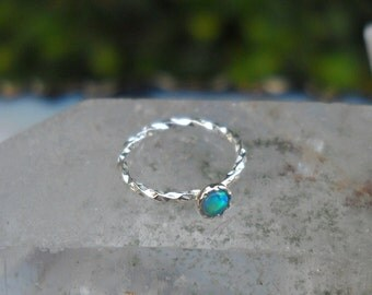 Nose Ring - Nose Ring Hoop - Nose Piercing - Cartilage Earring - Helix - Tragus - TEXTURED Sterling Silver 2mm Blue Opal 7mm inner diameter