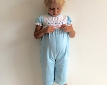 1970s Baby Girls FOLK / bohemian / boho chic / cottage chic eyelet lace trim romper jumper