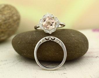 Bridal Set Floral Design Morganite Engagement Ring 14K White Gold Diamond Halo Wedding SET(Other metals  & stone options available)-Gem1141