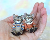 Reserved for Maryanne, Cat Art Dolls, OOAK Original Maine Coon Kittens, Miniature Hand Painted Folk Art Dolls, Eddie and Ethel by Max Bailey
