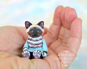 Cat Art Doll, OOAK Original Birman Kitten, Miniature Hand Painted Folk Art Figurine Sculpture, Abigail by Max Bailey