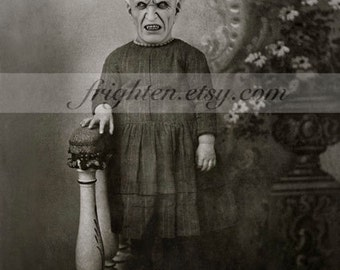 Creepy Black and White Halloween Decor, Demon Child, Altered Antique Photography, Collage Art, Halloween Decoration Wall Art