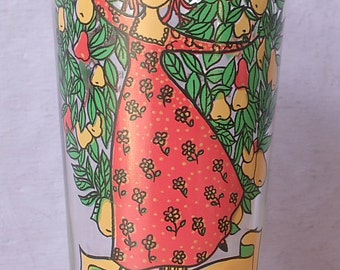 Vintage 12 Days of Christmas drinking glass tumbler, 11th day, 11 Ladies Dancing, Partridge in a Pear Tree, Christmas barware, red and green