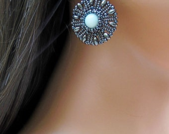 Hematite and Amazonite Earrings -Round Flower Beaded Earring - Amazonite Seed Bead - Short Drop Style - Chandelier Disk Earrings