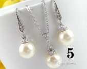 12% OFF Set of 5 Bridesmaids Pearl Jewelry - Swarovski Pearl Drop Bridal Necklace and Earrings Set Choice of Colors Cream White Rosaline