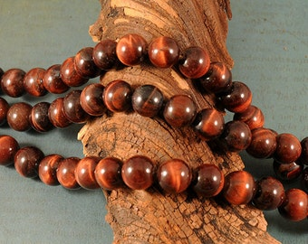 Red Tigers Eye Beads -  8mm Round - 8 inch strand of 25 beads
