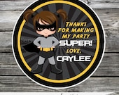 Set of 12 Personalized Favor Tags -Superhero -Thank You Tag -Gift Tag -Baby Shower -Birthday-Sticker-Batgirl Avengers Girl Superhero