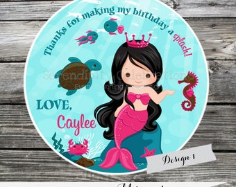 Set of 12 Personalized Favor Tags -Lovely Mermaid -Thank You Tag -Gift Tag -Baby Shower -Birthday-Sticker-Under the Sea-Ocean Party-mermaids