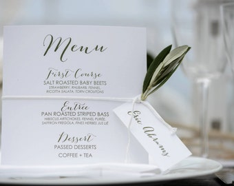 175 Printed Wedding Reception Dinner Menu, Wedding Dinner Menus, Simple Elegant Dinner Menus for your Special Event