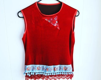 Red velvet top beaded top morrocan pom pom fringe top Upcycled womens clothing sleevless top