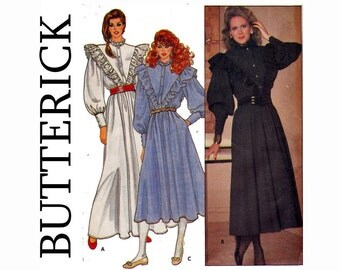 Steampunk Gibson Girl Country dress UNCUT Sewing Pattern 1980s Size 8 Bust 31 1/2 Butterick 4653 Long Dress High neck Full Sleeves Ruffle
