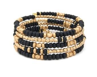 Beaded BRACELET, Wrap Bracelet, Beaded Wrap Bracelet, , Black Bracelet, Black and Gold UCF Bracelet, ASU Jewelry, Black & Gold Wedding