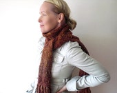 Handknit long scarf / autumn foliage inspired / rust orange / lush brick red / rustic urban boho / country cottage chic / long fringed scarf