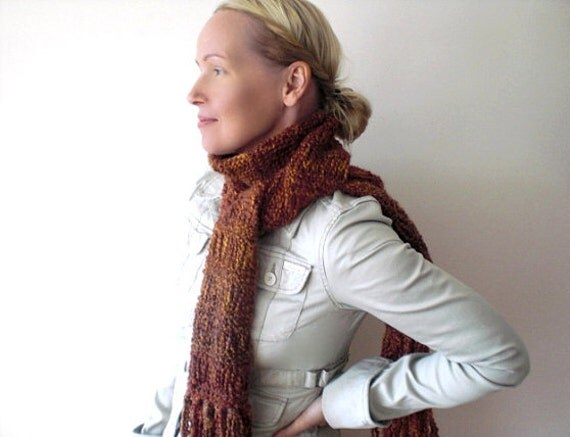 Handknit long scarf / autumn foliage inspired / rust orange / lush brick red / rustic urban boho / country cottage chic / long fringed scarf