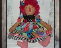 Primitive folk art  Patchwork hand embroidered Rag doll wool yarn hair HAFAIR painted legs raggedy girl oFG faap