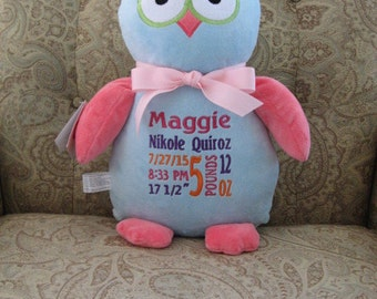 Cubbies Owl Birth Announcement Personalized Stuffed Owl Baby Gift Big Sister Flower Girl Gift