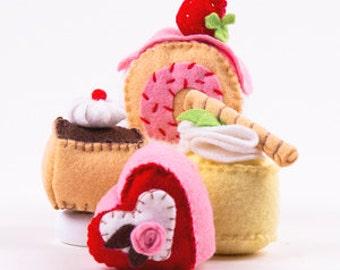 Cakes Sewing Kit, Felt Dessert Playfood, Felt Cake Craft Kit, Beginner Sewing Kit, DIY Sewing, Hand-Stitching - 'Take the Cakes' Heidi Boyd