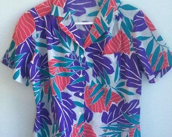 vintage 80s hawaiian floral shirt