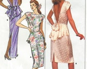 80s Womens Evening Gown or Cocktail Dress Open Back Peplum Butterick Sewing Pattern 5595 Size 12 14 16 Bust 34 36 38 UnCut