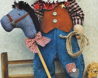90s Christmas Cowboy Doll & Stick Pony 19 Inch Cowboy Santa Doll Pattern by Just my Imagination Designs by Mary Kerr UnCut