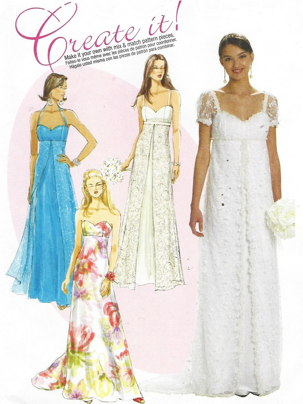 Womens empire waist wedding gown mccalls sewing pattern for Mccall wedding dress patterns