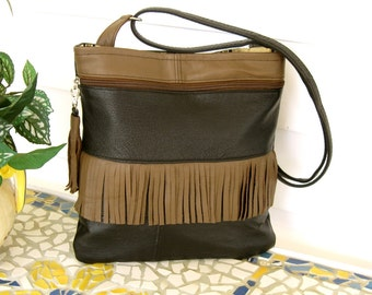 Recycled Leather Crossbody Handbag in Black and Chocolate Brown - Fringe and Tassel