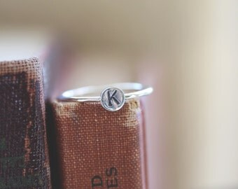 Pluto . One monogram Initial Stack Sterling Stack Ring   Personalized .