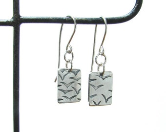 flock of birds earrings, silver bird rectangle earrings