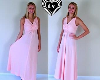 vtg 70s Pastel PINK empire MAXI DRESS xs/s open back peach boho Grecian goddess
