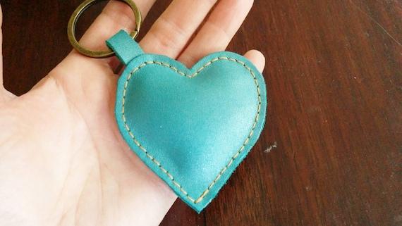 Leather keychain, heart keychain, turquoise keychain, leather keyring, turquoise heart, turquoise keyring, turquoise heart leather