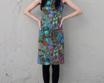 vtg 60s paisley mod dress