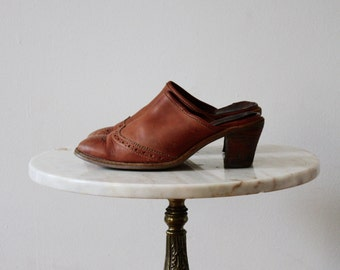 Mules Leather Slip Ons - 7 Women's - Brown Leather - 1970s Vintage