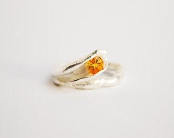 Citrine Sterling Silver Organic Ring