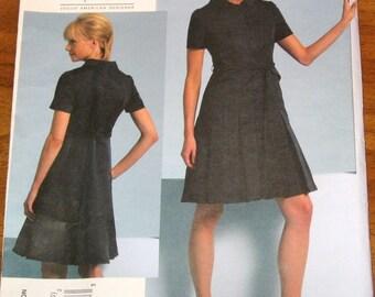 Vogue 1107 Chado Ralph Rucci Princess Pleat Shirt Dress, Womens American Designer Sewing Pattern Size 14-20 Bust 36-42 Uncut Factory Folds