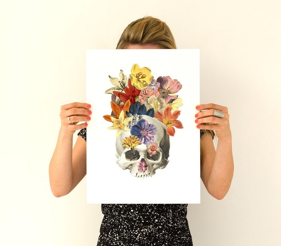 Spring Sale Flowers on skull Poster, anatomical art, Skull anatomy art,  Flowers anatomy poster , gifts for doctor , PWS011