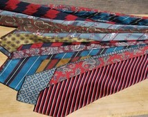 Vintage Neckties, Lot of 10, Scrap Fabric, Upcycled fabric