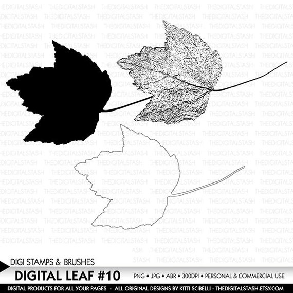 Digital Leaf No. 10 Stamp and Brush Set - INSTANT DOWNLOAD - for Invites, Scrapbooking, Journaling, Cards, Collage, Crafts and More