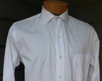 The BEST...vintage 70's - 80's -Troy Shirtmaker's Guild- Men's dress shirt. White tone-on-tone stripe. Retro styling. Large 16 x 35