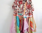 Reserved for FRN, Tattered Duster/ UpCycled Funky Jacket/ Ethical Fashion Plus Size