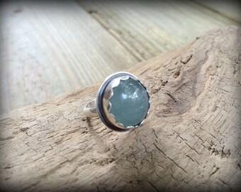 Summer Flower - Beautiful Moss Aquamarine Sterling Silver Ring - Sz. 6